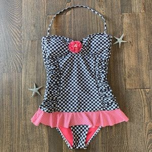 Hobie one piece swimwear swim suit flower checkers